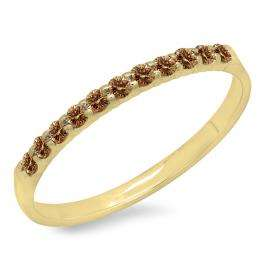 0.20 Carat (ctw) 10k Yellow Gold Round Champagne Diamond Ladies Anniversary Wedding Ring Stackable Band 1/5 CT