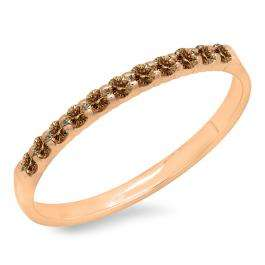 0.20 Carat (ctw) 18k Rose Gold Round Champagne Diamond Ladies Anniversary Wedding Ring Stackable Band 1/5 CT