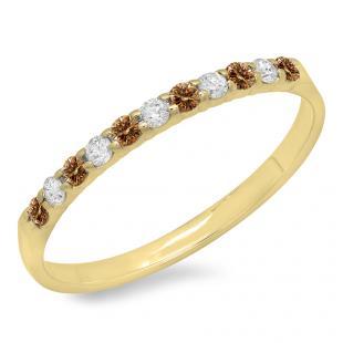 0.20 Carat (ctw) 10k Yellow Gold Round Champagne & White Diamond Ladies Anniversary Wedding Ring Stackable Band 1/5 CT