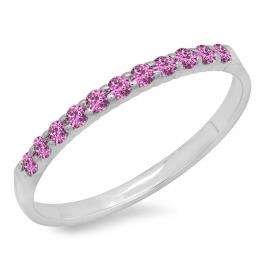 0.20 Carat (ctw) 10k White Gold Round Pink Sapphire Ladies Anniversary Wedding Ring Stackable Band 1/5 CT