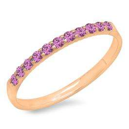 0.20 Carat (ctw) 18k Rose Gold Round Pink Sapphire Ladies Anniversary Wedding Ring Stackable Band 1/5 CT