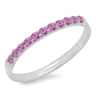 0.20 Carat (ctw) 18k White Gold Round Pink Sapphire Ladies Anniversary Wedding Ring Stackable Band 1/5 CT