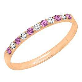 0.20 Carat (ctw) 10k Rose Gold Round Pink Sapphire & White Diamond Ladies Anniversary Wedding Ring Stackable Band 1/5 CT