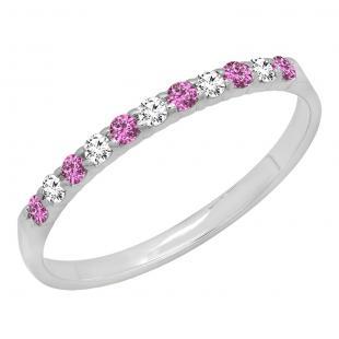 0.20 Carat (ctw) 10k White Gold Round Pink Sapphire & White Diamond Ladies Anniversary Wedding Ring Stackable Band 1/5 CT