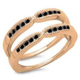 0.35 Carat (ctw) 10K Rose Gold Round Cut Black Diamond Ladies Millgrain Anniversary Wedding Band Guard Double Ring 1/3 CT
