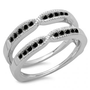0.35 Carat (ctw) 10K White Gold Round Cut Black Diamond Ladies Millgrain Anniversary Wedding Band Guard Double Ring 1/3 CT