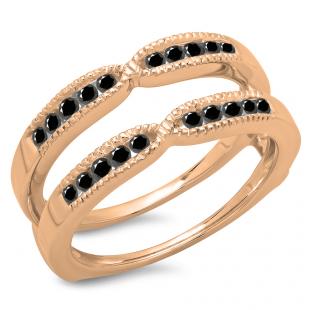 0.35 Carat (ctw) 18K Rose Gold Round Cut Black Diamond Ladies Millgrain Anniversary Wedding Band Guard Double Ring 1/3 CT