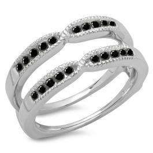 0.35 Carat (ctw) 18K White Gold Round Cut Black Diamond Ladies Millgrain Anniversary Wedding Band Guard Double Ring 1/3 CT