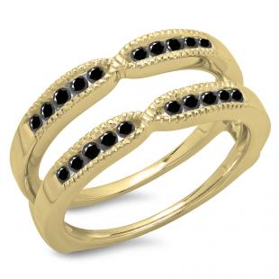 0.35 Carat (ctw) 18K Yellow Gold Round Cut Black Diamond Ladies Millgrain Anniversary Wedding Band Guard Double Ring 1/3 CT
