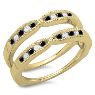 0.35 Carat (ctw) 18K Yellow Gold Round Cut Black & White Diamond Ladies Millgrain Anniversary Wedding Band Guard Double Ring 1/3 CT