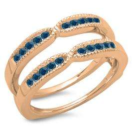 0.35 Carat (ctw) 10K Rose Gold Round Cut Blue Diamond Ladies Millgrain Anniversary Wedding Band Guard Double Ring 1/3 CT