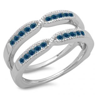 0.35 Carat (ctw) 14K White Gold Round Cut Blue Diamond Ladies Millgrain Anniversary Wedding Band Guard Double Ring 1/3 CT