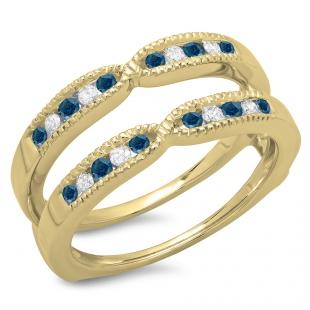 0.35 Carat (ctw) 18K Yellow Gold Round Cut Blue & White Diamond Ladies Millgrain Anniversary Wedding Band Guard Double Ring 1/3 CT