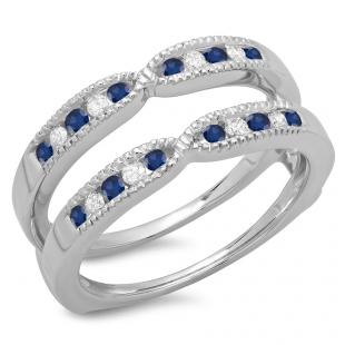 0.35 Carat (ctw) 18K White Gold Round Cut Blue Sapphire & White Diamond Ladies Millgrain Anniversary Wedding Band Guard Double Ring 1/3 CT