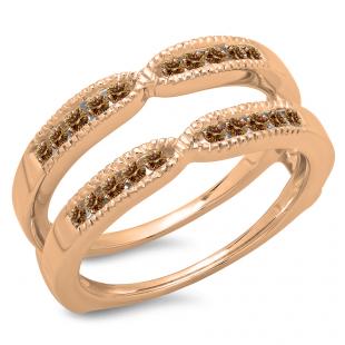 0.35 Carat (ctw) 14K Rose Gold Round Cut Champagne Diamond Ladies Millgrain Anniversary Wedding Band Guard Double Ring 1/3 CT