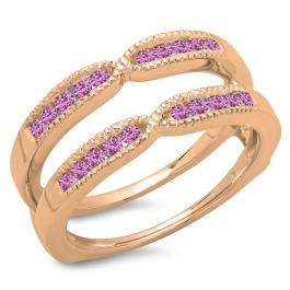 0.35 Carat (ctw) 18K Rose Gold Round Cut Pink Sapphire Ladies Millgrain Anniversary Wedding Band Guard Double Ring 1/3 CT