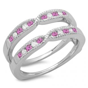 0.35 Carat (ctw) 10K White Gold Round Cut Pink Sapphire & White Diamond Ladies Millgrain Anniversary Wedding Band Guard Double Ring 1/3 CT