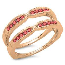 0.35 Carat (ctw) 18K Rose Gold Round Cut Ruby Ladies Millgrain Anniversary Wedding Band Guard Double Ring 1/3 CT