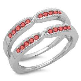 0.35 Carat (ctw) 18K White Gold Round Cut Ruby Ladies Millgrain Anniversary Wedding Band Guard Double Ring 1/3 CT