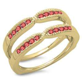 0.35 Carat (ctw) 18K Yellow Gold Round Cut Ruby Ladies Millgrain Anniversary Wedding Band Guard Double Ring 1/3 CT