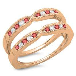 0.35 Carat (ctw) 10K Rose Gold Round Cut Ruby & White Diamond Ladies Millgrain Anniversary Wedding Band Guard Double Ring 1/3 CT