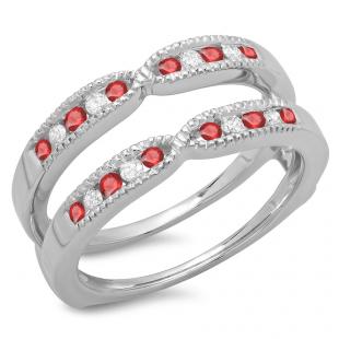 0.35 Carat (ctw) 10K White Gold Round Cut Ruby & White Diamond Ladies Millgrain Anniversary Wedding Band Guard Double Ring 1/3 CT