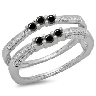 0.50 Carat (ctw) 18K White Gold Round Cut Black & White Diamond Ladies Anniversary Wedding Band Enhancer Guard Double Ring 1/2 CT