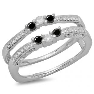0.50 Carat (ctw) 14K White Gold Round Cut Black & White Diamond Ladies Anniversary Wedding Band Enhancer Guard Double Ring 1/2 CT
