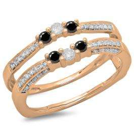 0.50 Carat (ctw) 18K Rose Gold Round Cut Black & White Diamond Ladies Anniversary Wedding Band Enhancer Guard Double Ring 1/2 CT