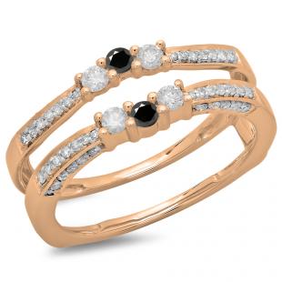 0.50 Carat (ctw) 10K Rose Gold Round Cut Black & White Diamond Ladies Anniversary Wedding Band Enhancer Guard Double Ring 1/2 CT