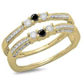 0.50 Carat (ctw) 18K Yellow Gold Round Cut Black & White Diamond Ladies Anniversary Wedding Band Enhancer Guard Double Ring 1/2 CT