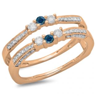 0.50 Carat (ctw) 18K Rose Gold Round Cut Blue & White Diamond Ladies Anniversary Wedding Band Enhancer Guard Double Ring 1/2 CT