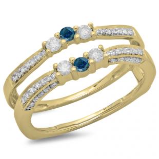 0.50 Carat (ctw) 18K Yellow Gold Round Cut Blue & White Diamond Ladies Anniversary Wedding Band Enhancer Guard Double Ring 1/2 CT