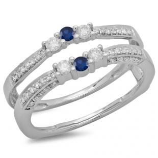 0.50 Carat (ctw) 10K White Gold Round Cut Blue Sapphire & White Diamond Ladies Anniversary Wedding Band Enhancer Guard Double Ring 1/2 CT