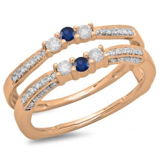 0.50 Carat (ctw) 14K Rose Gold Round Cut Blue Sapphire & White Diamond Ladies Anniversary Wedding Band Enhancer Guard Double Ring 1/2 CT