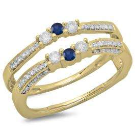 0.50 Carat (ctw) 14K Yellow Gold Round Cut Blue Sapphire & White Diamond Ladies Anniversary Wedding Band Enhancer Guard Double Ring 1/2 CT