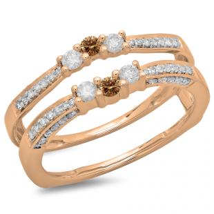 0.50 Carat (ctw) 14K Rose Gold Round Cut Champagne & White Diamond Ladies Anniversary Wedding Band Enhancer Guard Double Ring 1/2 CT