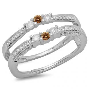 0.50 Carat (ctw) 14K White Gold Round Cut Champagne & White Diamond Ladies Anniversary Wedding Band Enhancer Guard Double Ring 1/2 CT