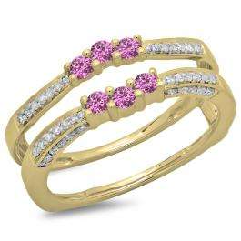 0.50 Carat (ctw) 10K Yellow Gold Round Cut Pink Sapphire & White Diamond Ladies Anniversary Wedding Band Enhancer Guard Double Ring 1/2 CT