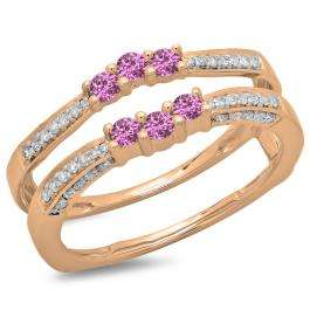 0.50 Carat (ctw) 18K Rose Gold Round Cut Pink Sapphire & White Diamond Ladies Anniversary Wedding Band Enhancer Guard Double Ring 1/2 CT