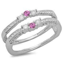 0.50 Carat (ctw) 14K White Gold Round Cut Pink Sapphire & White Diamond Ladies Anniversary Wedding Band Enhancer Guard Double Ring 1/2 CT
