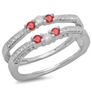0.50 Carat (ctw) 10K White Gold Round Cut Ruby & White Diamond Ladies Anniversary Wedding Band Enhancer Guard Double Ring 1/2 CT