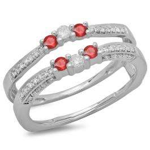 0.50 Carat (ctw) 14K White Gold Round Cut Ruby & White Diamond Ladies Anniversary Wedding Band Enhancer Guard Double Ring 1/2 CT