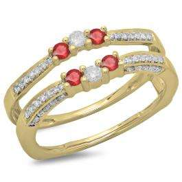 0.50 Carat (ctw) 18K Yellow Gold Round Cut Ruby & White Diamond Ladies Anniversary Wedding Band Enhancer Guard Double Ring 1/2 CT