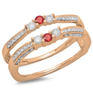 0.50 Carat (ctw) 18K Rose Gold Round Cut Ruby & White Diamond Ladies Anniversary Wedding Band Enhancer Guard Double Ring 1/2 CT