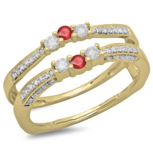 0.50 Carat (ctw) 18K Yellow Gold Round Cut Ruby & White Diamond Ladies Anniversary Wedding Band Enhancer Guard Double Ring 1/2 CT