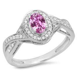 0.75 Carat (ctw) 14K White Gold Oval & Round Cut Pink Sapphire & White Diamond Ladies Swirl Split Shank Bridal Halo Engagement Ring 3/4 CT