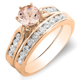 1.00 Carat (ctw) 18k Rose Gold Round Morganite & White Diamond Ladies Bridal Engagement Ring Set With Matching Band 1 CT