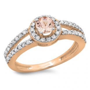 0.90 Carat (ctw) 18K Rose Gold Round Cut Morganite & White Diamond Ladies Bridal Split Shank Halo Style Engagement Ring