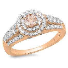 1.00 Carat (ctw) 18K Rose Gold Round Cut Morganite & White Diamond Ladies Vintage Style Bridal Halo Engagement Ring 1 CT